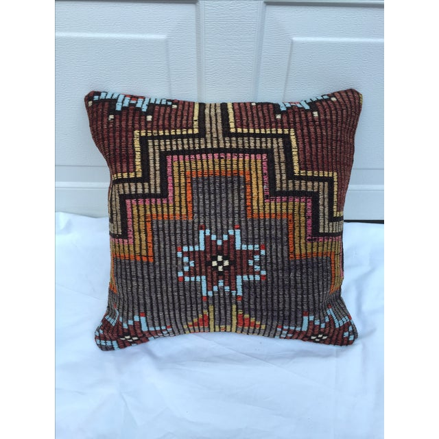 Custom pillow made from a fragment of a vintage, handwoven kilim rug purchased from the Grand Bazaar in Istanbul. Cotton...