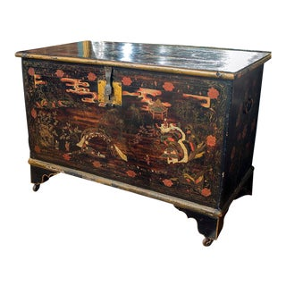 English Painted Trunk With Single Latch and Large Storage Area Inside, Casters on All Feet For Sale