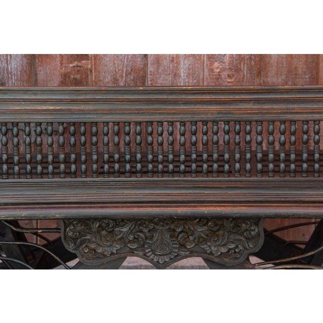 Vintage Regal Burmese Carved Settee For Sale - Image 9 of 11