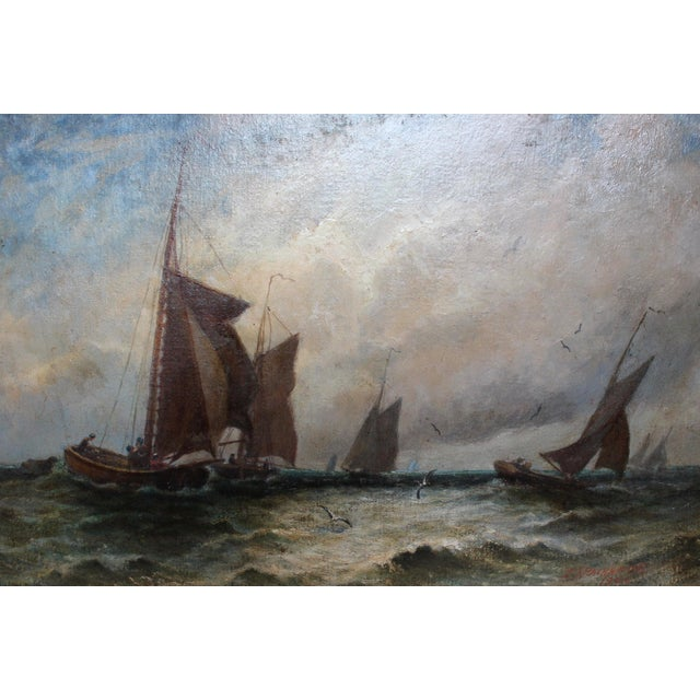 "Nautical Vintage ""Ships at Sea"" Oil Painting by E.J. Packbauer For Sale - Image 3 of 7"