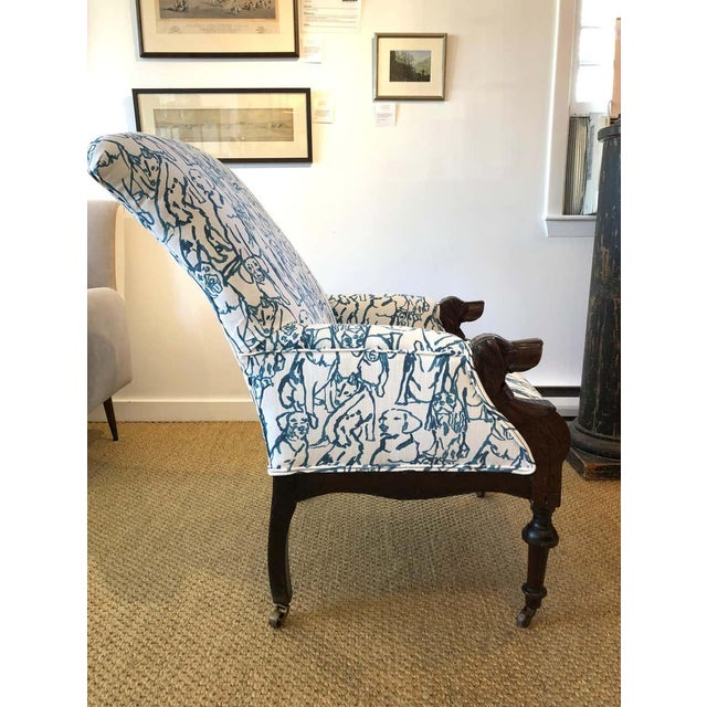 Late 19th Century Victorian Lounge Chair With Carved Dog Head Armrests For Sale - Image 10 of 13