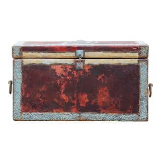 Gothic Leather and Pressed Metal Trunk With Eagle For Sale