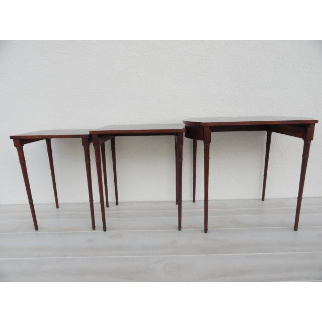 Bamboo 20th Century Traditional Baker Furniture Bamboo Style Nesting Tables - Set of 3 For Sale - Image 7 of 12