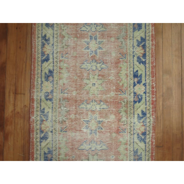 Blue Distressed Turkish Oushak Runner Rug - 2'5'' x 10'9'' For Sale - Image 8 of 8