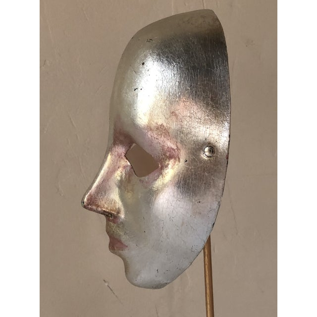 Italian Paper-Maché Mask on Custom Stand For Sale - Image 4 of 9