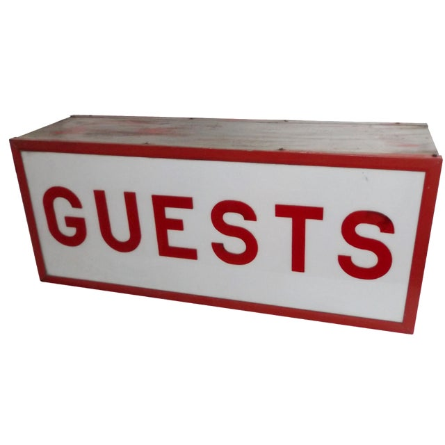 """Vintage Double-Sided Lit """"Guests"""" Sign - Image 1 of 10"""