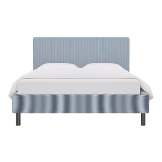 Queen Tailored Platform Bed in Azul Ticking Stripe For Sale