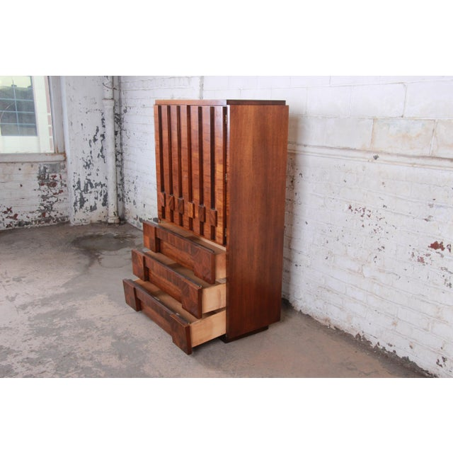 Paul Evans Style Mid-Century Modern Brutalist Walnut Armoire Dresser by Lane For Sale In South Bend - Image 6 of 13