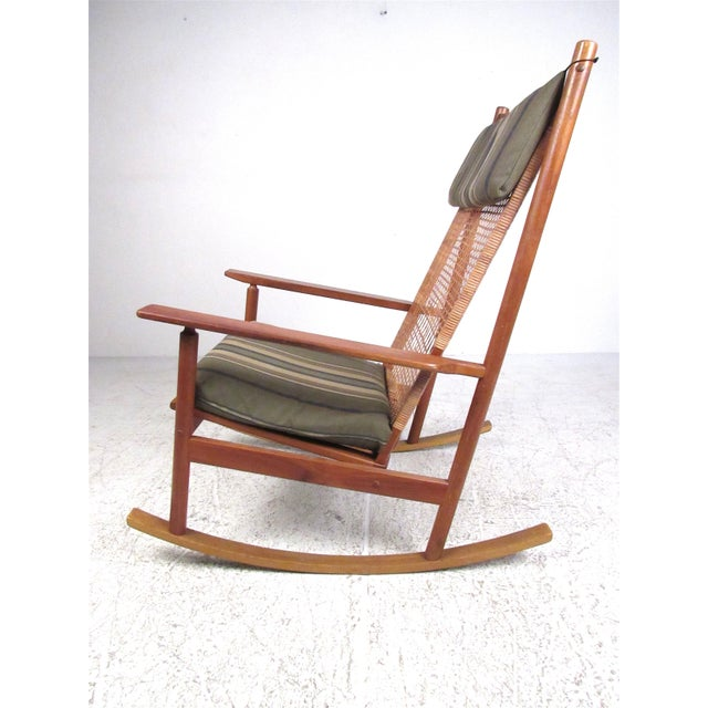 Hans Olsen Scandinavian Modern Teak and Cane Rocking Chair by Hans Olsen For Sale - Image 4 of 13