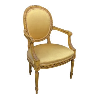 Late 19th Century Vintage Louis XVI Style Fauteuil Armchair For Sale