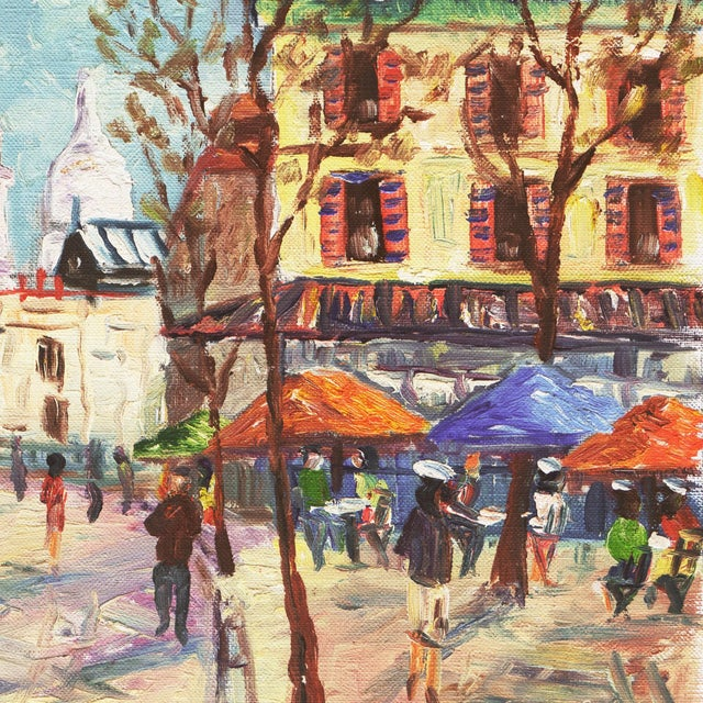 French 'Place Du Tertre, Montmartre, Paris' by Rammy, Mid-Century Post-Impressionist Oil For Sale - Image 3 of 9