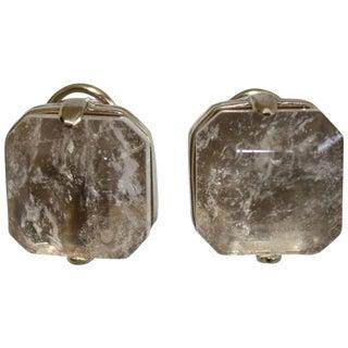 Goossens Paris Clear Rock Crystal Baguette Clip Earrings For Sale