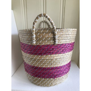 Pink Striped Seagrass Basket Preview