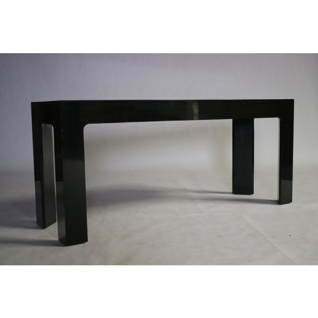 Parson Style Black Lacquered Console Table and Benches - Image 11 of 11