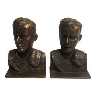 1920s Vintage Verona Charles Lindbergh Bookends - a Pair For Sale
