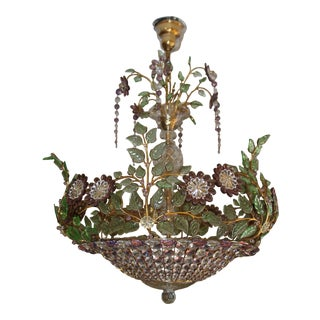 French Maison Bagues Amethyst/ Verde/ Crystal/ Petals and Diamonds 6 Light Chandelier For Sale