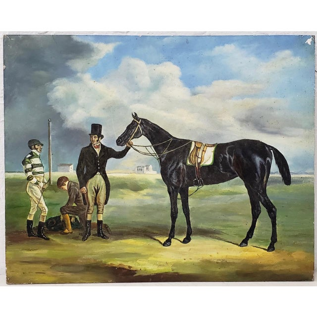 """Black Early 20th Century """"Horse and Rider"""" Original Oil Painting For Sale - Image 8 of 8"""