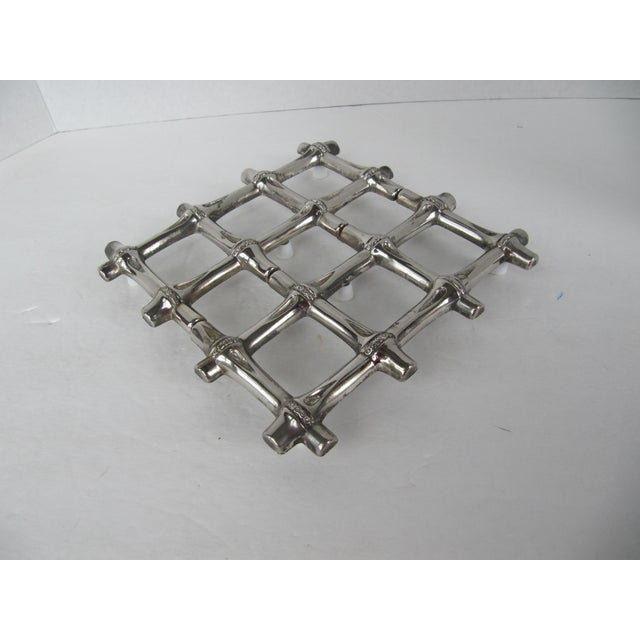 Silverplate Bamboo Trivet - Image 2 of 5