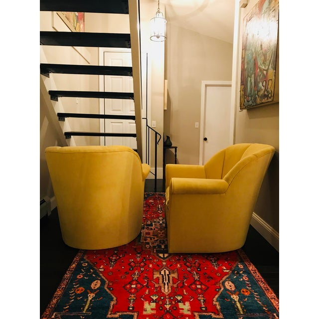 American Classical 1980s American Classical Bright Yellow Velvet Vanguard Channel Back Chairs - a Pair For Sale - Image 3 of 12