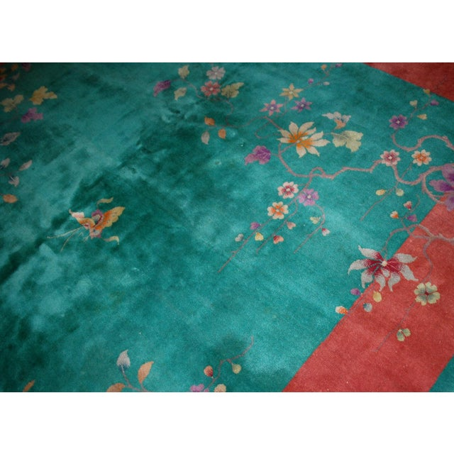Red 1920s Hand Made Antique Art Deco Chinese Rug - 8′10″ × 11′7″ For Sale - Image 8 of 9