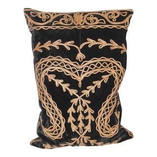 Victorian Metal Trim Velvet Pillow For Sale
