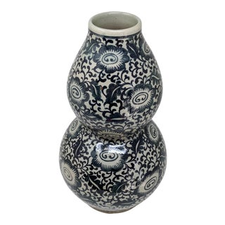 Chinoiserie Navy Ink Blue and Cream Hand Painted Floral Vase For Sale