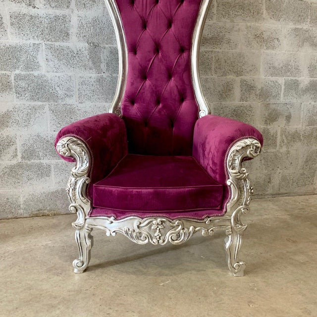 Purple Velvet Baroque Style Tufted Throne Chair For Sale - Image 4 of 7
