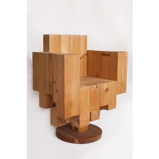Giorgio Marian Italian Sculptural Cubist Pine Wood Armchair Preview