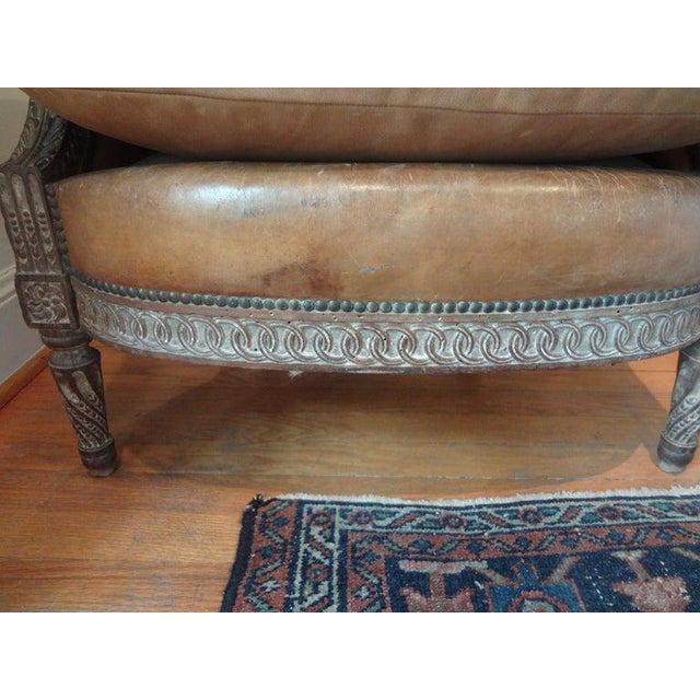 Antique French Louis XVI Style Bergere With Distressed Leather Upholstery For Sale In Houston - Image 6 of 13