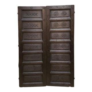 1960s Vintage Double Panel Moroccan Wooden Door For Sale