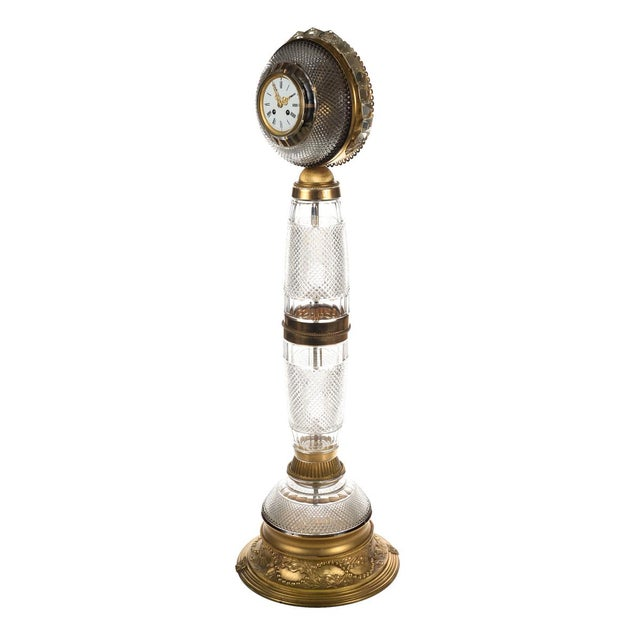 Antique French Gilt Bronze-Mounted Cut Crystal Floor Clock For Sale In Los Angeles - Image 6 of 10
