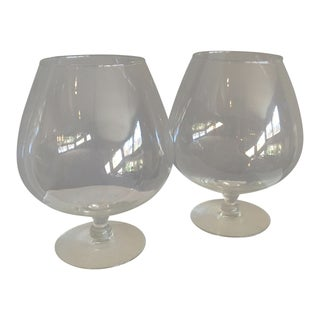 Large Vintage Mid-Century French Brandy Snifters - a Pair For Sale