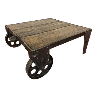 Industrial Coffee Table - Cart For Sale