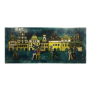 1970s Remarkable and Enameled Modern Plaque With Renaissance Scene For Sale