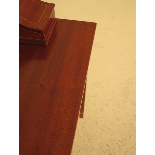 Brown 1960s Federal Kittinger Biggs Federal Inlaid Mahogany Ladies Writing Desk For Sale - Image 8 of 13