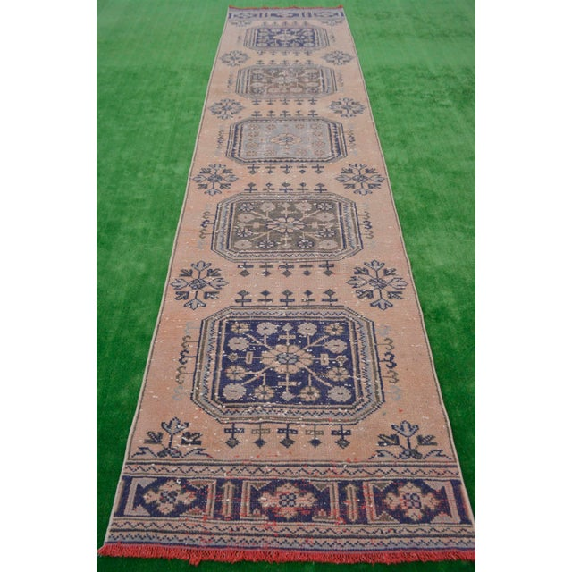 """Distressed - Faded Oushak Rug Runner Stunning Kitchen Decor - 2'11"""" x 11'7"""" For Sale - Image 5 of 10"""