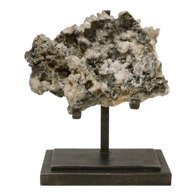 1990s Rock Crystal With Metallic Deposits Mounted on a Custom Maurice Beane Studios Stand For Sale