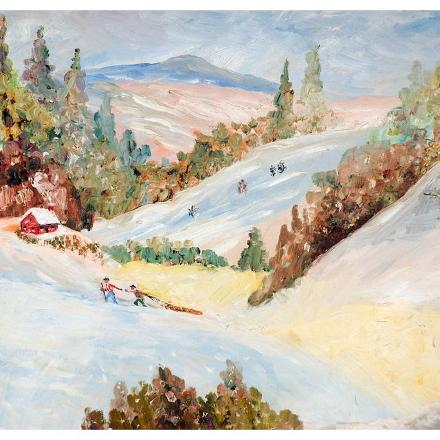 Rustic European Vintage Folk Art Winter Scene Painting For Sale - Image 3 of 5