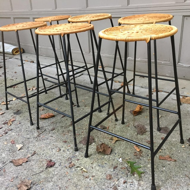 Boho Chic 1960s Vintage Danny Ho Fong Iron and Wicker Bar Stools - Set of 6 For Sale - Image 3 of 11