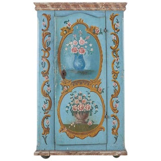 19th Century Venetian Painted Armoire Wardrobe or Linen Press For Sale