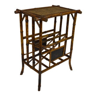 19th-Century Bamboo Table/Magazine Rack For Sale