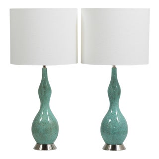 Pair of Aqua and Brown Speckled Ceramic Lamps 1970s