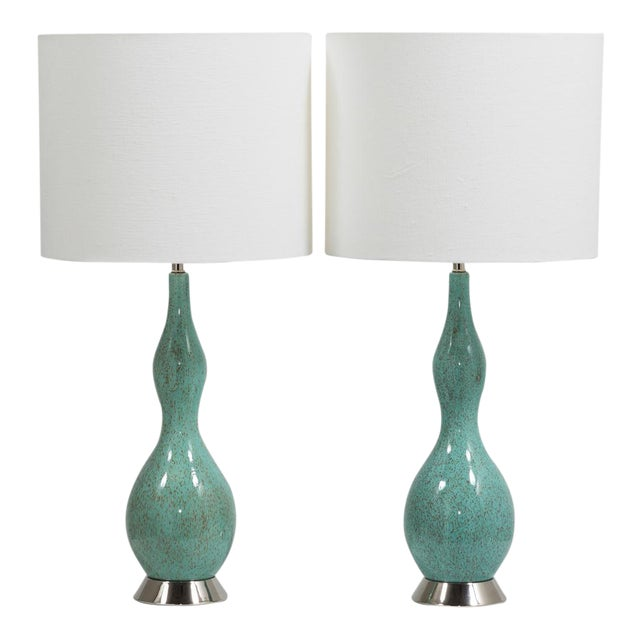 Pair of Aqua and Brown Speckled Ceramic Lamps 1970s For Sale