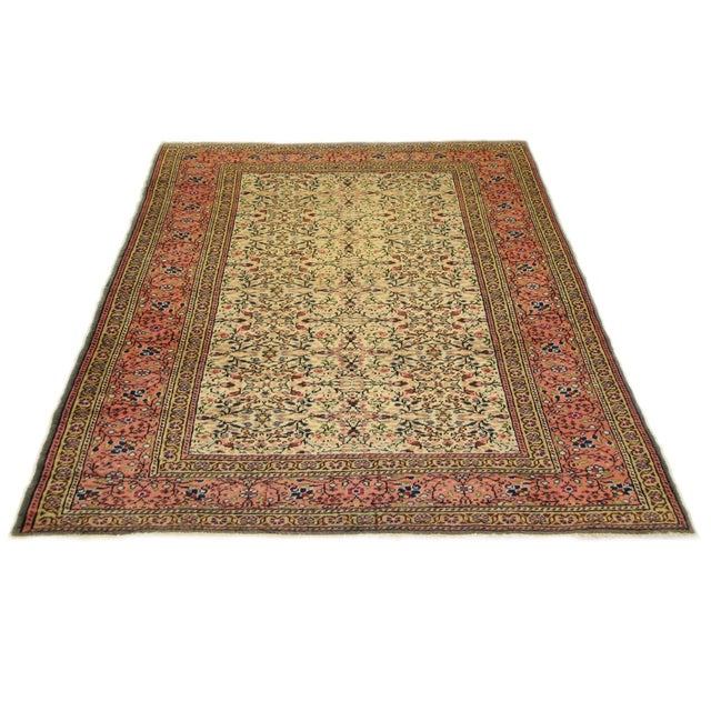 Vintage Kayseri rug in peach, sage, cream, navy. Kayseri carpets are probably the best known of the Turkish hand-knotted...