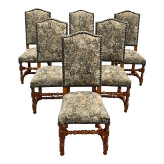 French Louis XIII Style Solid Walnut Dining Chairs Circa 1900s - Set of 6 For Sale
