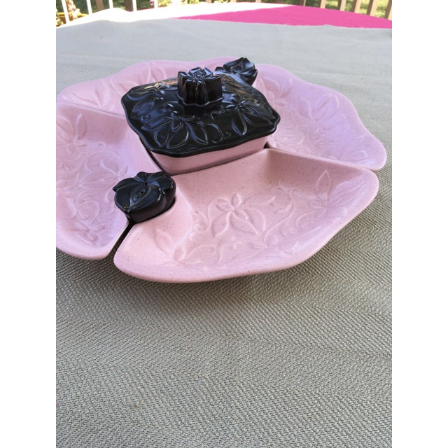 """Vintage 5 piece serving set with salt and pepper set. Marked """"Made in the USA"""". Unique pink and black colored set with..."""