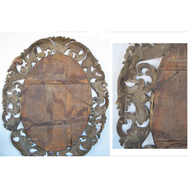 Well-Carved Italian Baroque Style Oval Giltwood Mirror For Sale - Image 4 of 4
