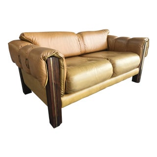 Vintage 70's Tiki Graceland Vinyl Love Seat For Sale