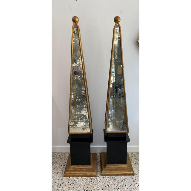 This large scale pair of 1930s Italian obelisks will make a definite statement with their classic form and use of antiqued...