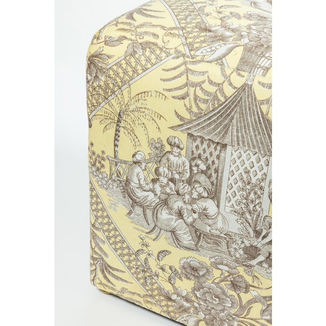 Light Gray 0f Chinoiserie Toile Ottomans - a Pair For Sale - Image 8 of 10